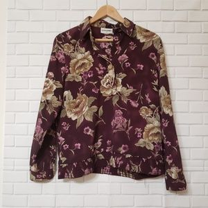 Alfred Dunner Sz 8 Burgundy Floral Long Sleeve Top